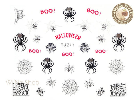 TJ211 Silver Halloween Ghost Adhesive Nail Art Sticker - 1 pc