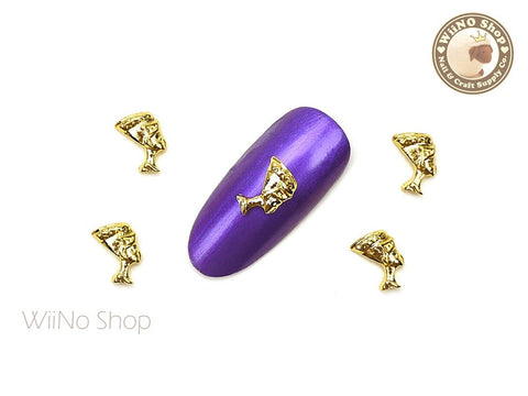 Gold Egyptian Queen Nefertiti Nail Metal Charm - 2 pcs
