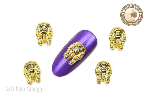 Gold Egyptian Pharaoh Nail Metal Charm - 2 pcs