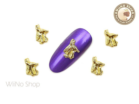 Gold Egyptian God Anubis Nail Metal Charm - 2 pcs