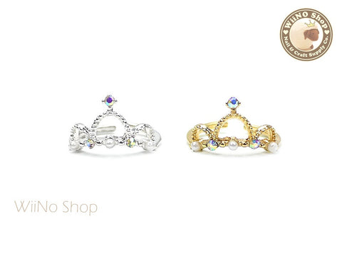 Crystal Pearl Crown Nail Ring - 1 pc