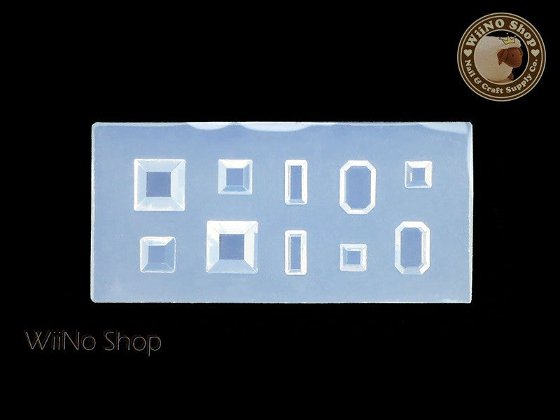 Square Octagon Rhinestone 3D Acrylic Nail Art Mold - 1 pc (RD03)