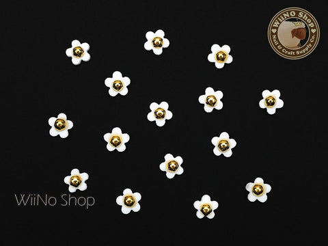 White Five Petal Flower Nail Charm Nail Art - 5 pcs