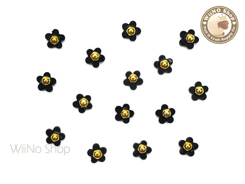 Black Five Petal Flower Nail Charm Nail Art - 5 pcs