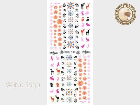 Forest Wildlife Flower Pattern Water Slide Nail Art Decals - 1 pc (DS-186)