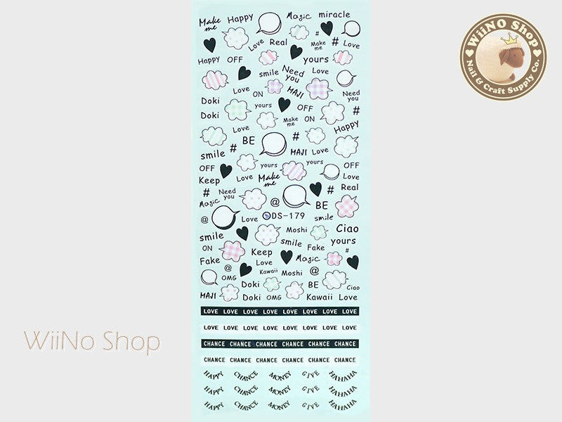 Lovely Bubble Quotes Water Slide Nail Art Decals - 1 pc (DS-179)