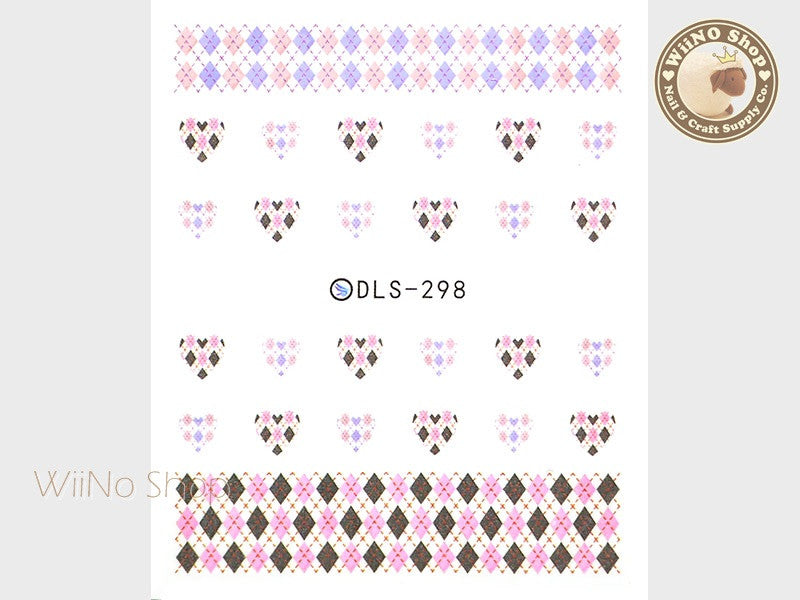 Pink Argyle Pattern Water Slide Nail Art Decals - 1pc (DLS-298)