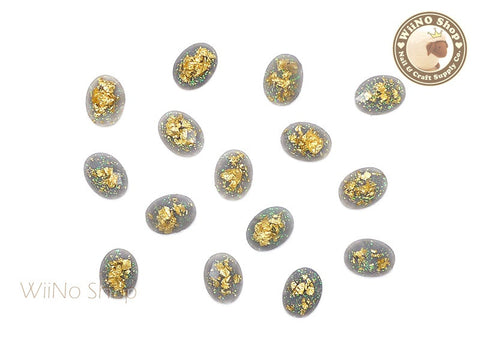 6 x 8mm Gray Gold Foil Glitter Oval Flat Back Acrylic Rhinestone Nail Art - 10 pcs