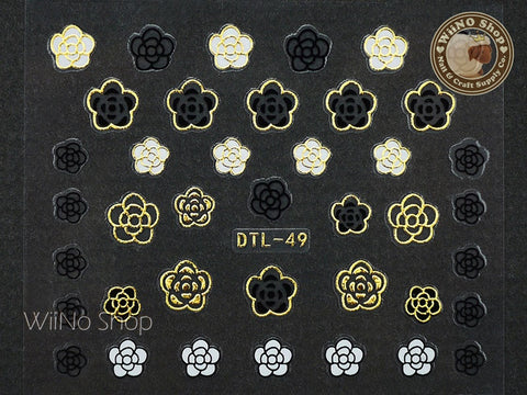 Gold Black White Camellia Nail Art Sticker - 1 pc (DTL-49G)