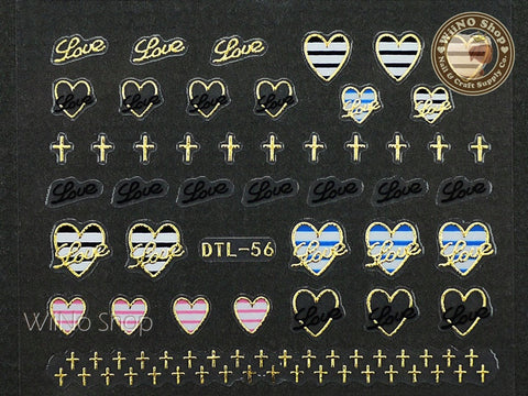 Gold Love Striped Heart Nail Art Sticker - 1 pc (DTL-56G)