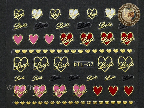 Gold Pink Red Love Heart Nail Art Sticker - 1 pc (DTL-57G)