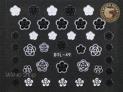 Silver Black White Camellia Nail Art Sticker - 1 pc (DTL-49S)