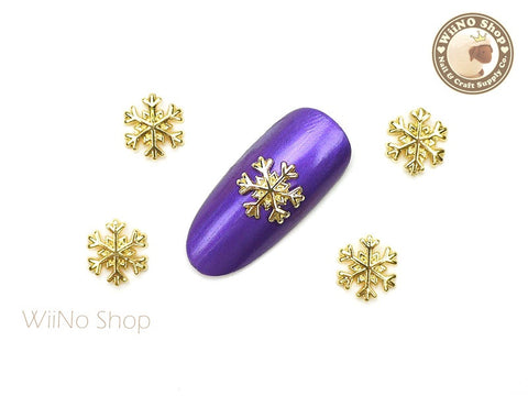 Gold Snowflake Nail Art Metal Charm - 2 pcs