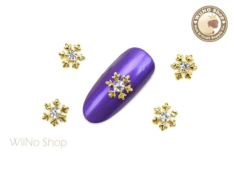 Gold Small Crystal Snowflake Nail Art Metal Charm - 2 pcs