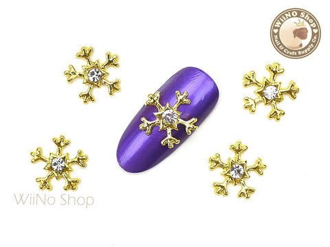 Gold Crystal Star Snowflake Nail Art Metal Charm - 2 pcs