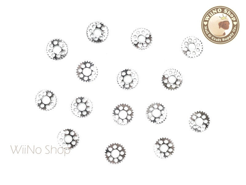Silver Gear Metal Decoration - 10 pcs