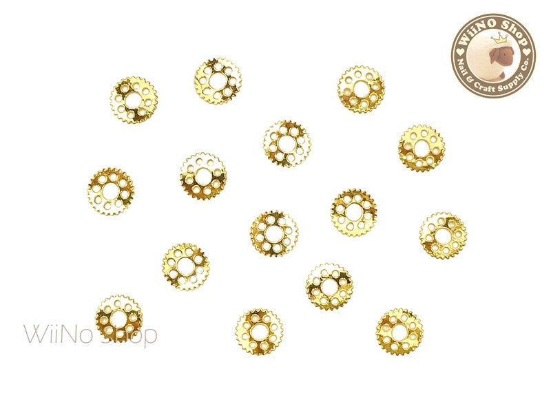 Gold Gear Metal Decoration - 10 pcs