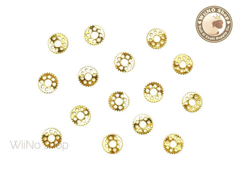 Gold Gear Nail Art Metal Decoration - 10 pcs