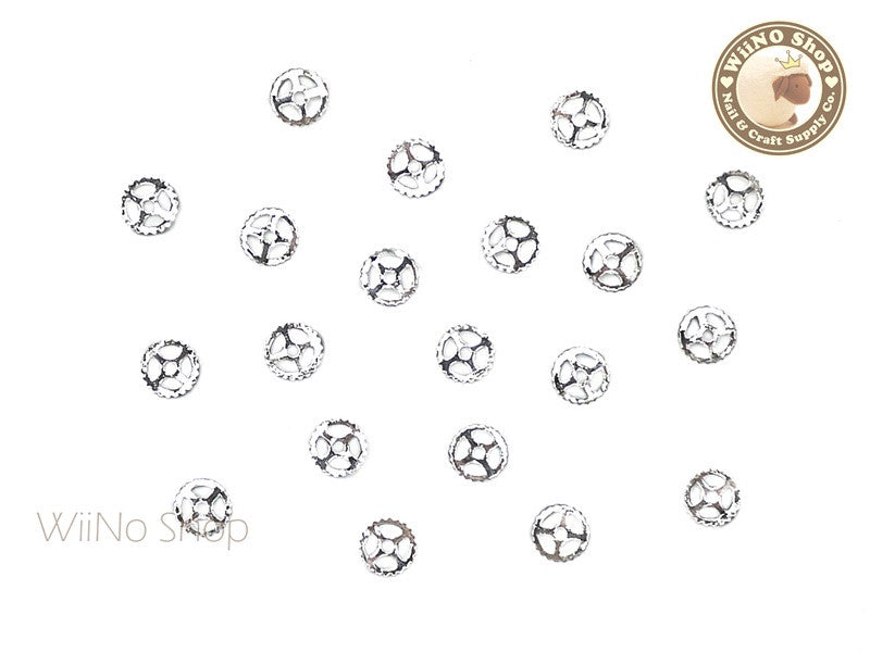 Silver Small Gear Metal Decoration - 10 pcs