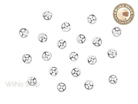Silver Small Gear Nail Art Metal Decoration - 10 pcs