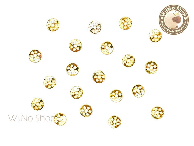 Gold Small Gear Metal Decoration - 10 pcs