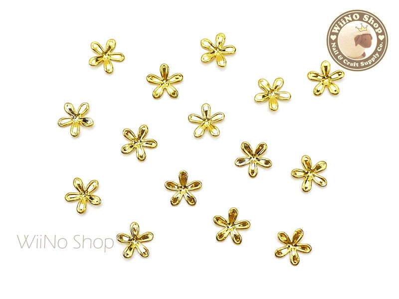 Gold Five Petal Flower Nail Metal Charm - 2 pcs