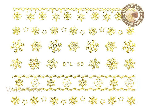 Gold Snowflake Nail Art Sticker - 1 pc (DTL-50G)