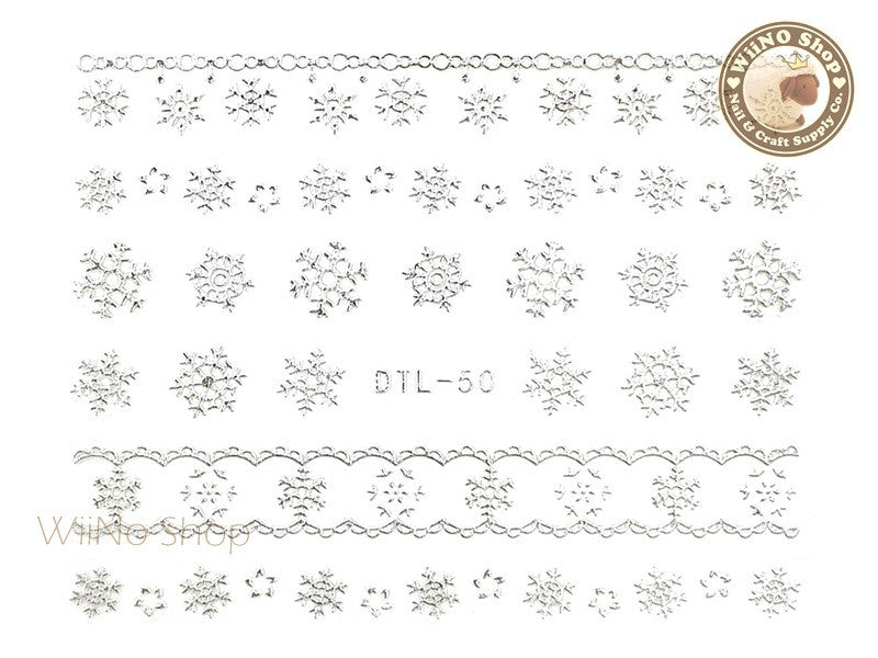 Silver Snowflake Nail Art Sticker - 1 pc (DTL-50S)