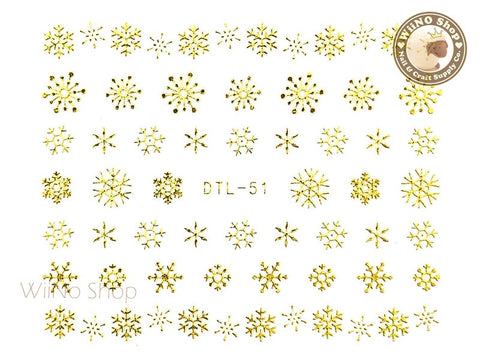 Gold Snowflake Nail Art Sticker - 1 pc (DTL-51G)