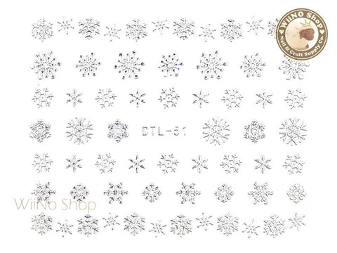 Silver Snowflake Nail Art Sticker - 1 pc (DTL-51S)