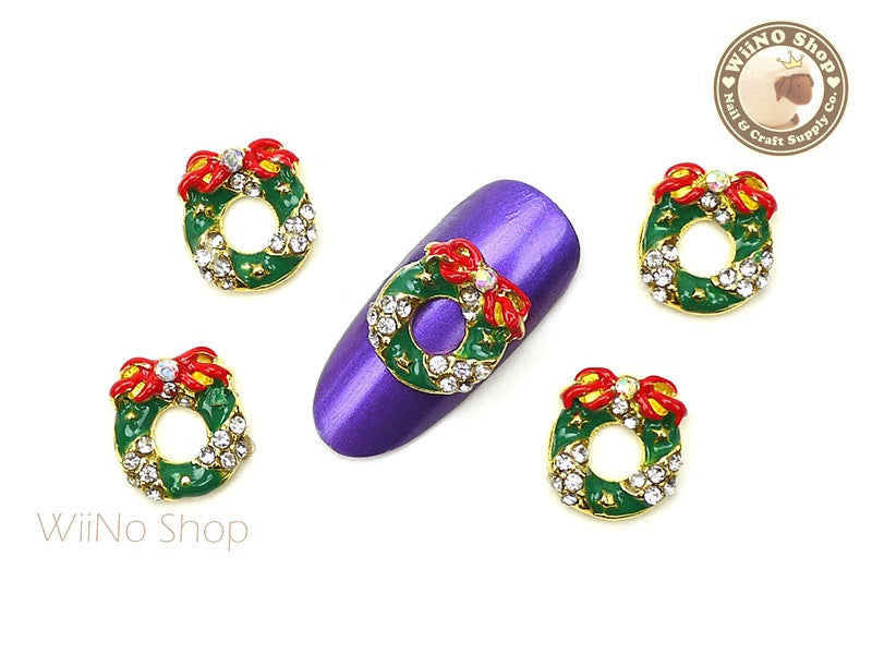 Christmas Wreath Nail Art Metal Charm - 2 pcs (WR02)