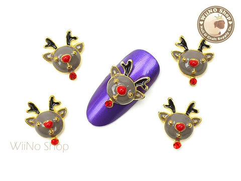 Rudolph Reindeer Head Nail Art Metal Charm - 2 pcs