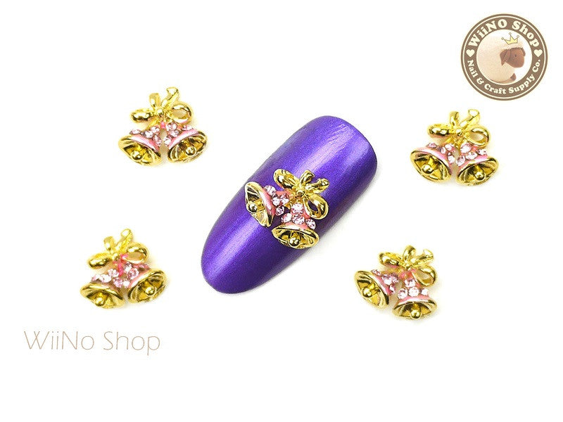 Pink Jingle Bell Nail Art Metal Charm - 2 pcs (JB01P)
