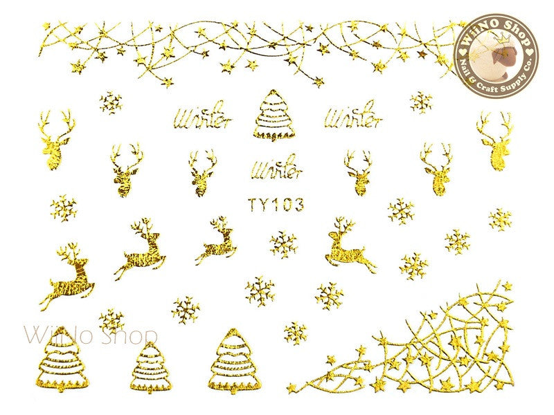 Gold Christmas Nail Sticker Nail Art - 1 pc (TY103G)