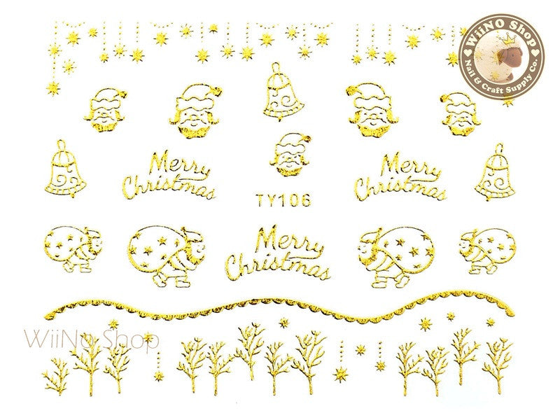 Gold Christmas Nail Sticker Nail Art - 1 pc (TY106G)