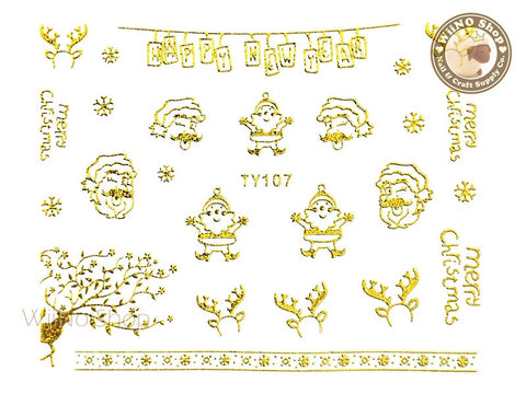 Gold Christmas Nail Sticker Nail Art - 1 pc (TY107G)