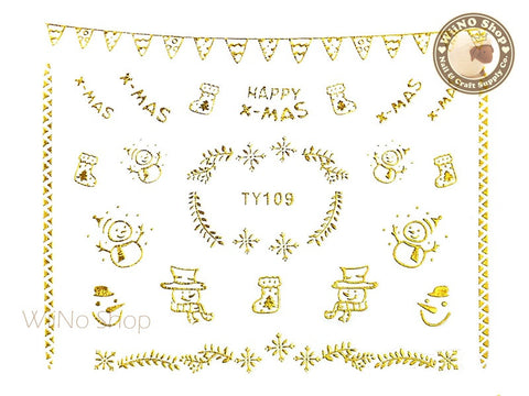 Gold Christmas Nail Sticker Nail Art - 1 pc (TY109G)