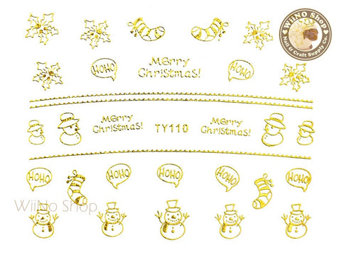Gold Christmas Nail Sticker Nail Art - 1 pc (TY110G)