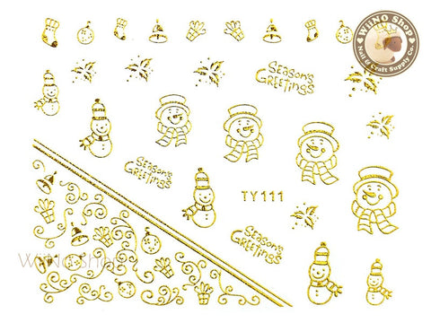 Gold Christmas Nail Sticker Nail Art - 1 pc (TY111G)