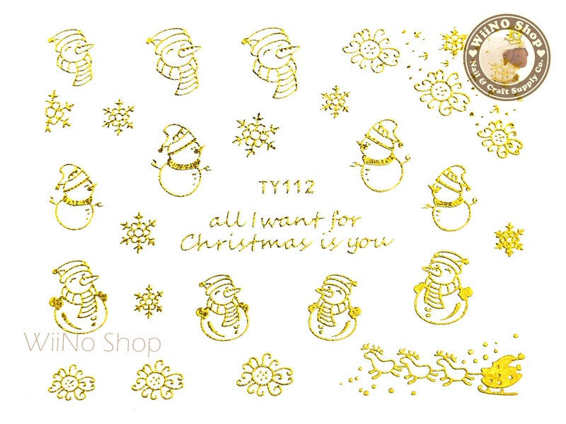 Gold Christmas Nail Sticker Nail Art - 1 pc (TY112G)