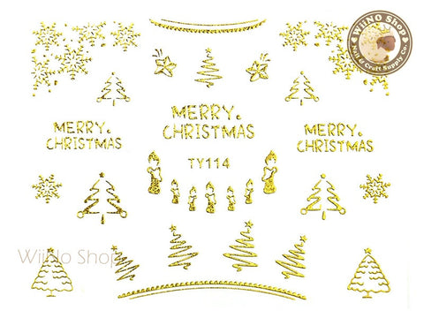 Gold Christmas Nail Sticker Nail Art - 1 pc (TY114G)