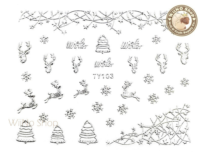 Silver Christmas Nail Sticker Nail Art - 1 pc (TY103S)