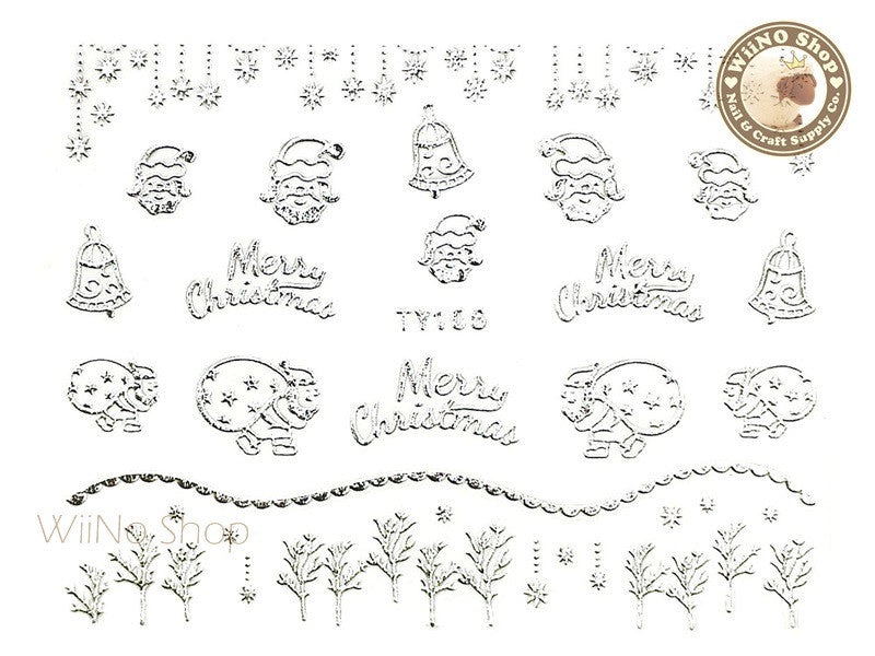 Silver Christmas Nail Sticker Nail Art - 1 pc (TY106S)