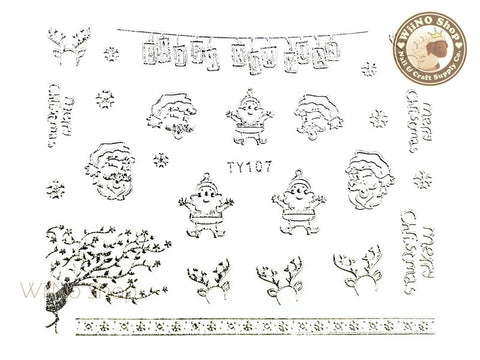 Silver Christmas Nail Sticker Nail Art - 1 pc (TY107S)