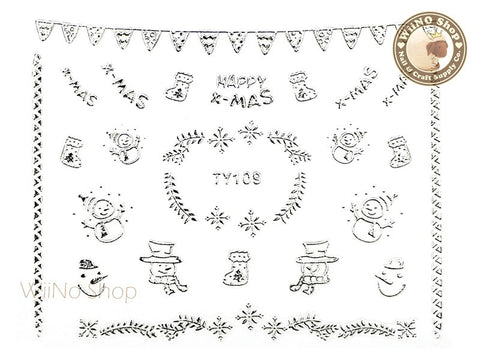 Silver Christmas Nail Sticker Nail Art - 1 pc (TY109S)