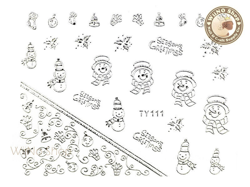 Silver Christmas Nail Sticker Nail Art - 1 pc (TY111S)