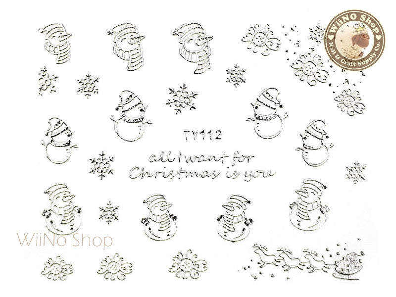 Silver Christmas Nail Sticker Nail Art - 1 pc (TY112S)