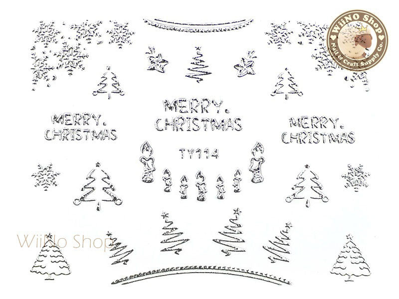 Silver Christmas Nail Sticker Nail Art - 1 pc (TY114S)