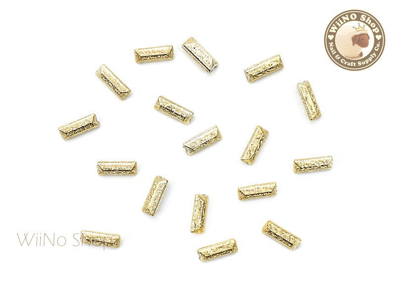 7 x 3mm Gold Textured Rectangle 3D Point Back Rhinestone - 10 pcs