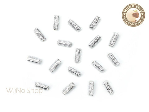 7 x 3mm Silver Textured Rectangle 3D Point Back Rhinestone - 10 pcs